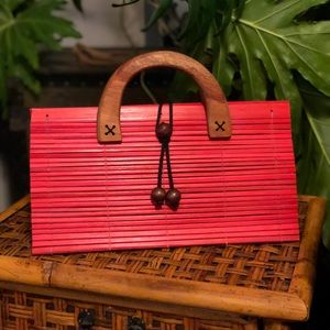 Vintage Red Wooden Purse